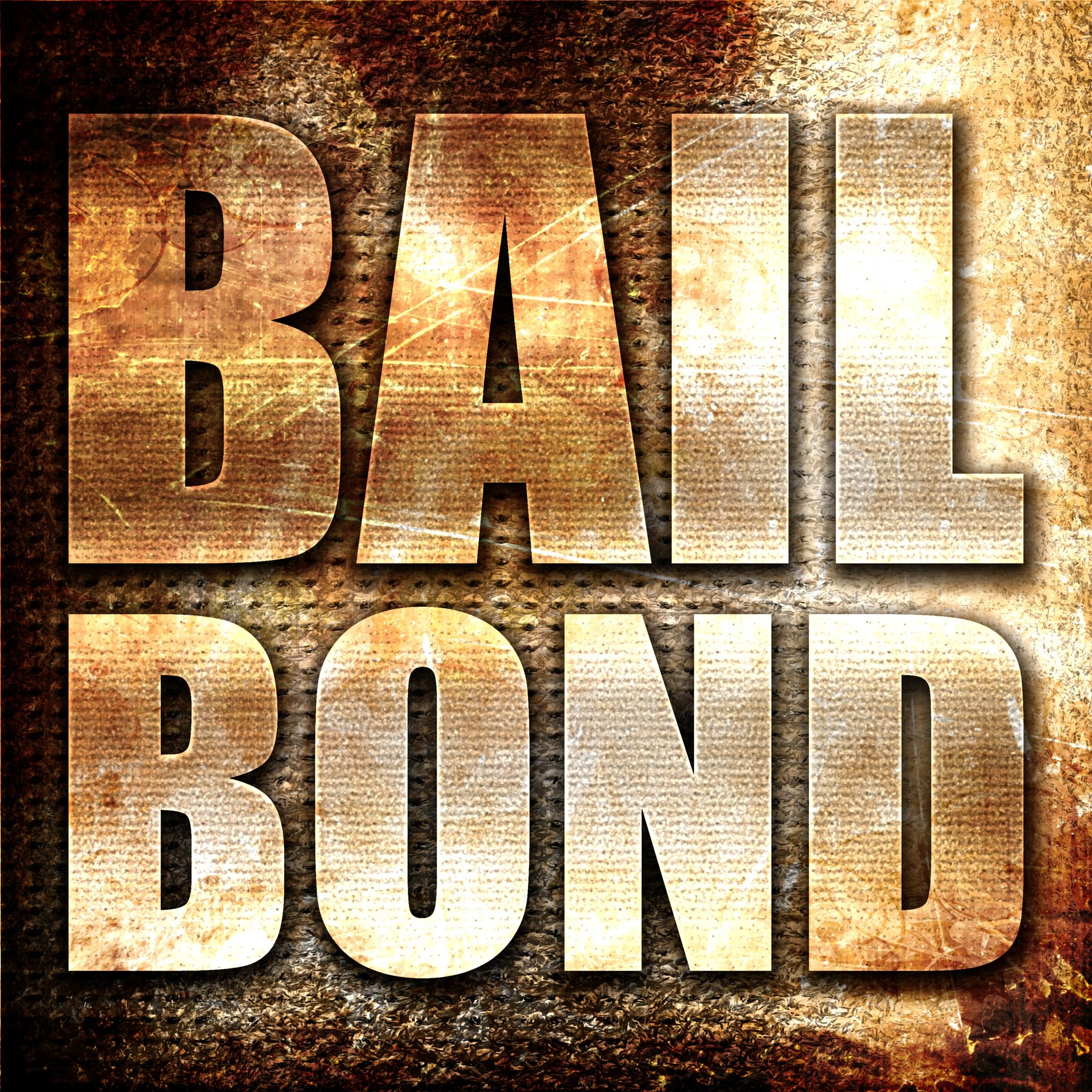 bailbond, 3D rendering, metal text on rust background