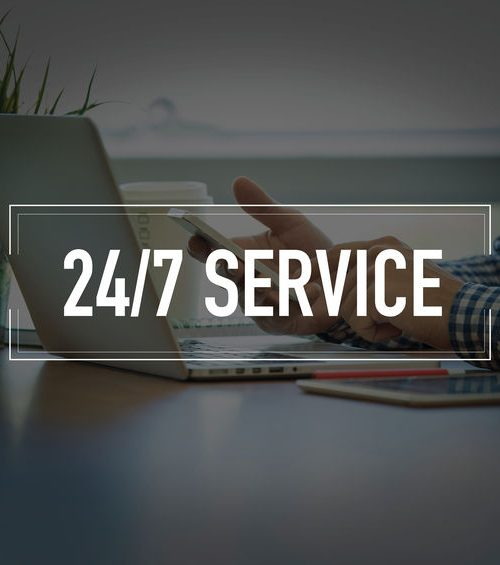 PEOPLE USING SMARTPHONE COMMUNICATION TECHNOLOGY 24/7 SERVICE OFFICE CONCEPT