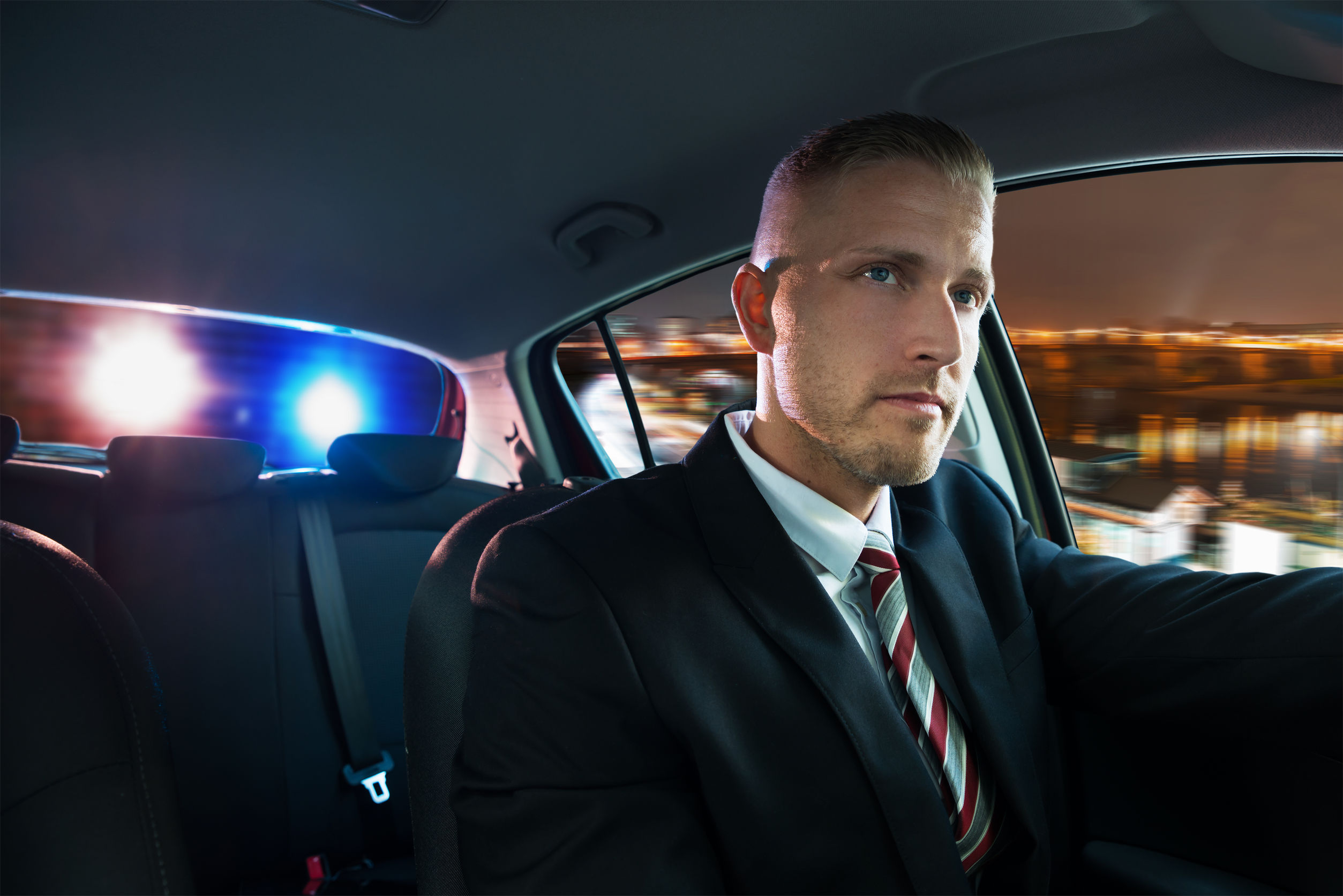 Portrait Of A Young Man Chased And Pulled Over By Police